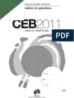 Epreuves CEB 2011 - Nombres&opérations