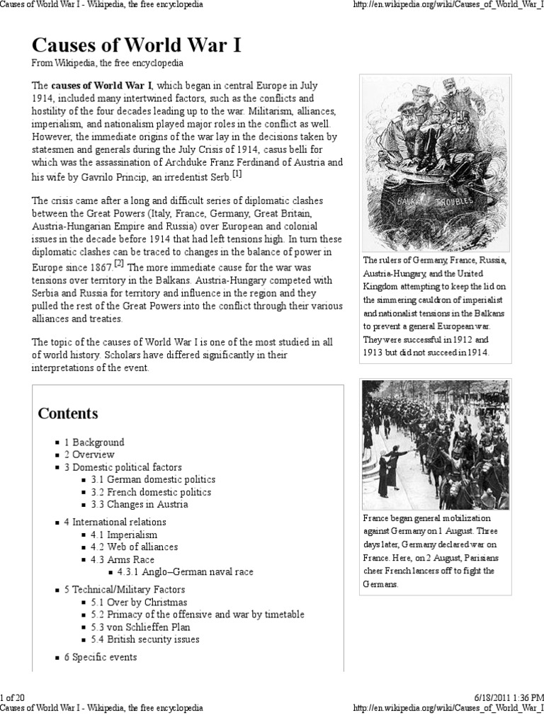Causes of World War I - Wikipedia, The Free Encyclopedia