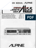 Alpine AL55 Stereo Cassette Deck Instruction Manual