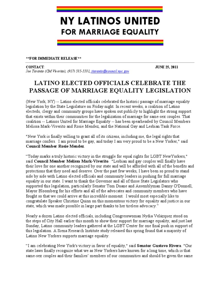 Press Release Latinos United For Marriage Equality Same Sex