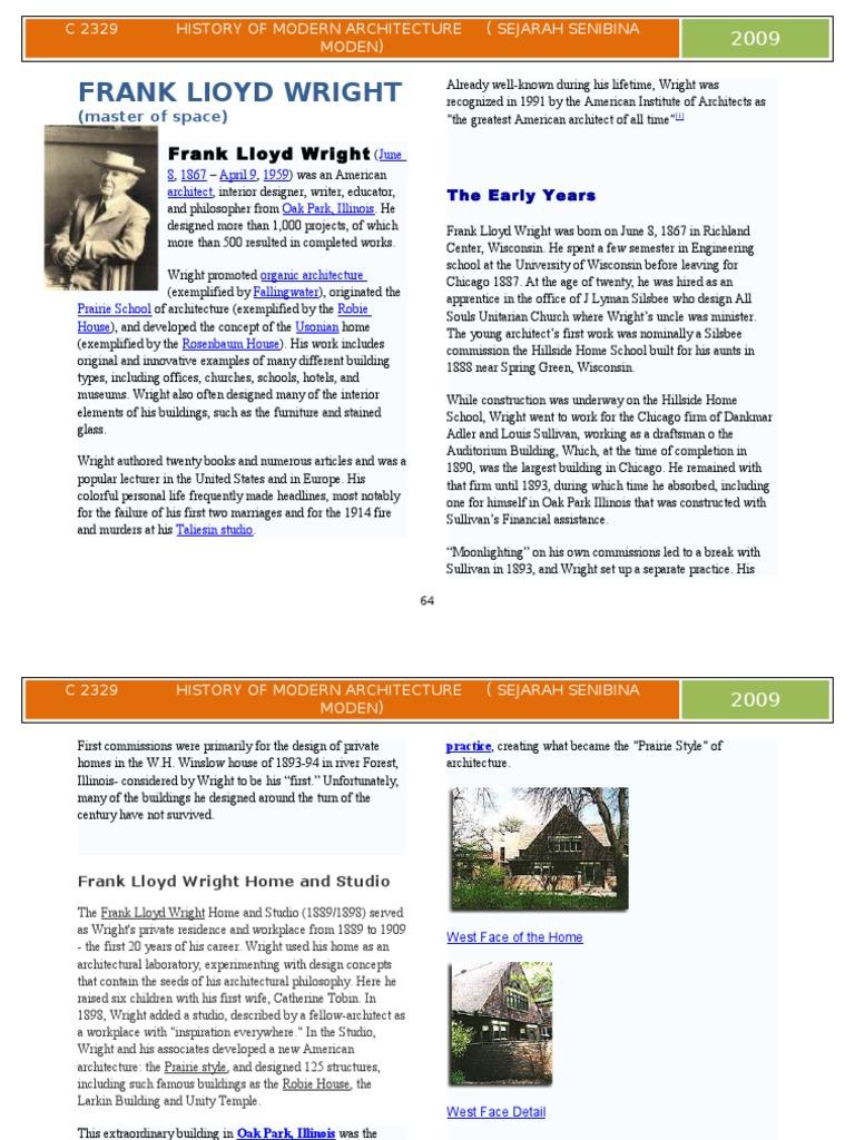 Frank Lloyd Wright | Architectural Design | Nature