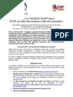 Communiqué de presse Stop au trafic des mineurs à des fins sexuelles 29 juin 2011 Paris