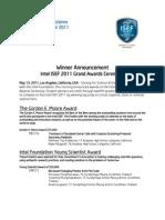 ISEF2011 Winners List