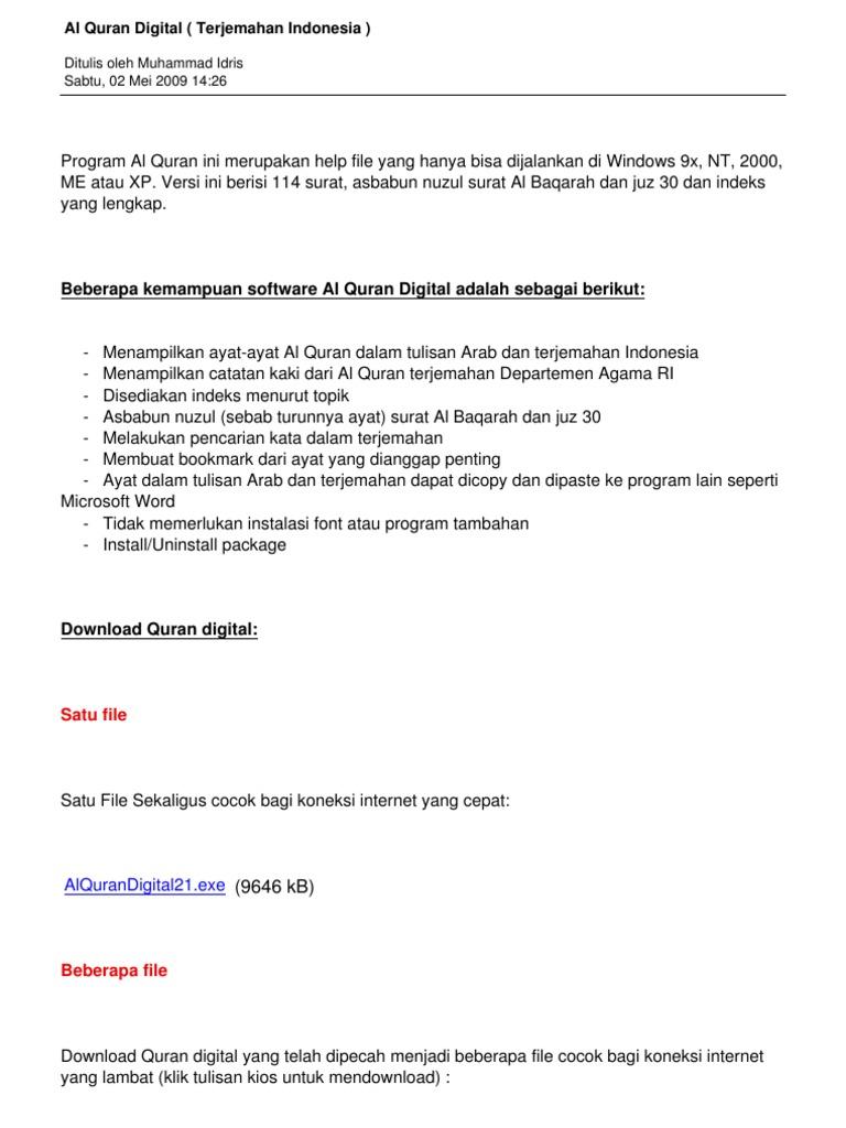 Juz alquran dan pdf 30 terjemahan