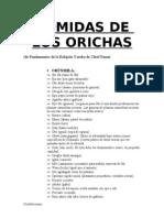 Comidas de Los Orichas