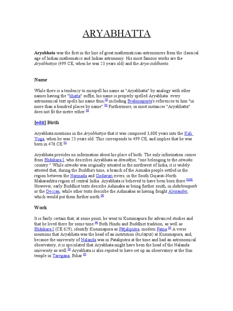 Aryabhatta essay in english