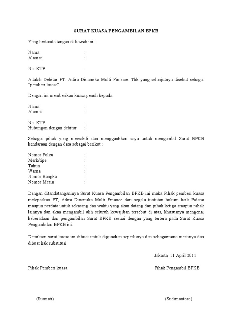 Contoh Surat Kuasa Oto Finance Rommy 7081