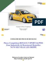 Teilekatalog Clio II Cup 2005