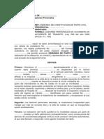 Demanda de Constitución de Parte Civil por Lesiones Personales