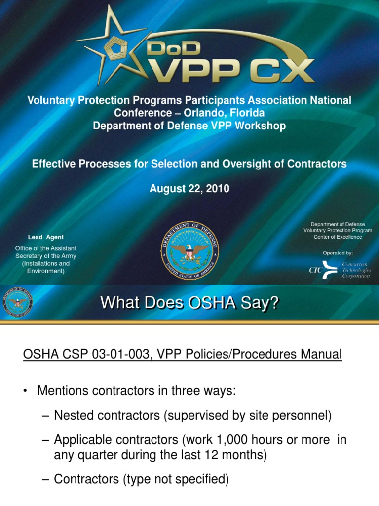 Contractors and VPP | Occupational Safety And Health Administration | Safety