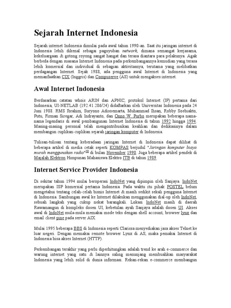 Sejarah Internet Indonesia