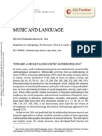 Feld, Steven, And Aaron a. Fox. 1994. Music and Language. Annual Review of Anthropology