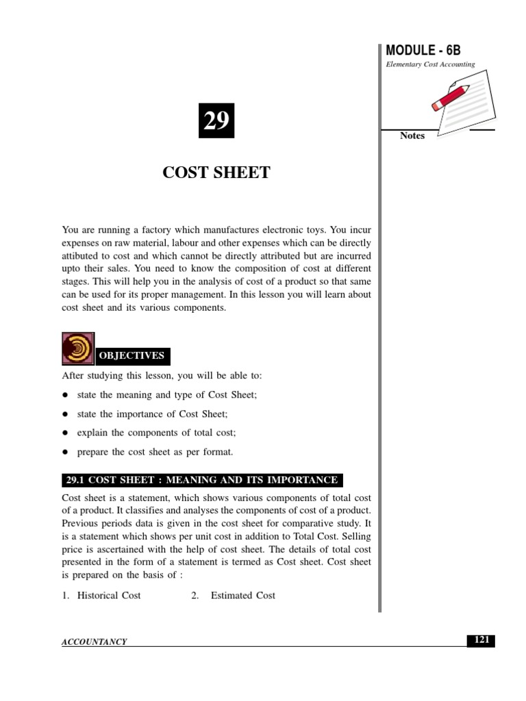 importance of cost sheet