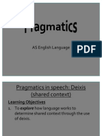 7.Pragmatics in Speech - Deixis