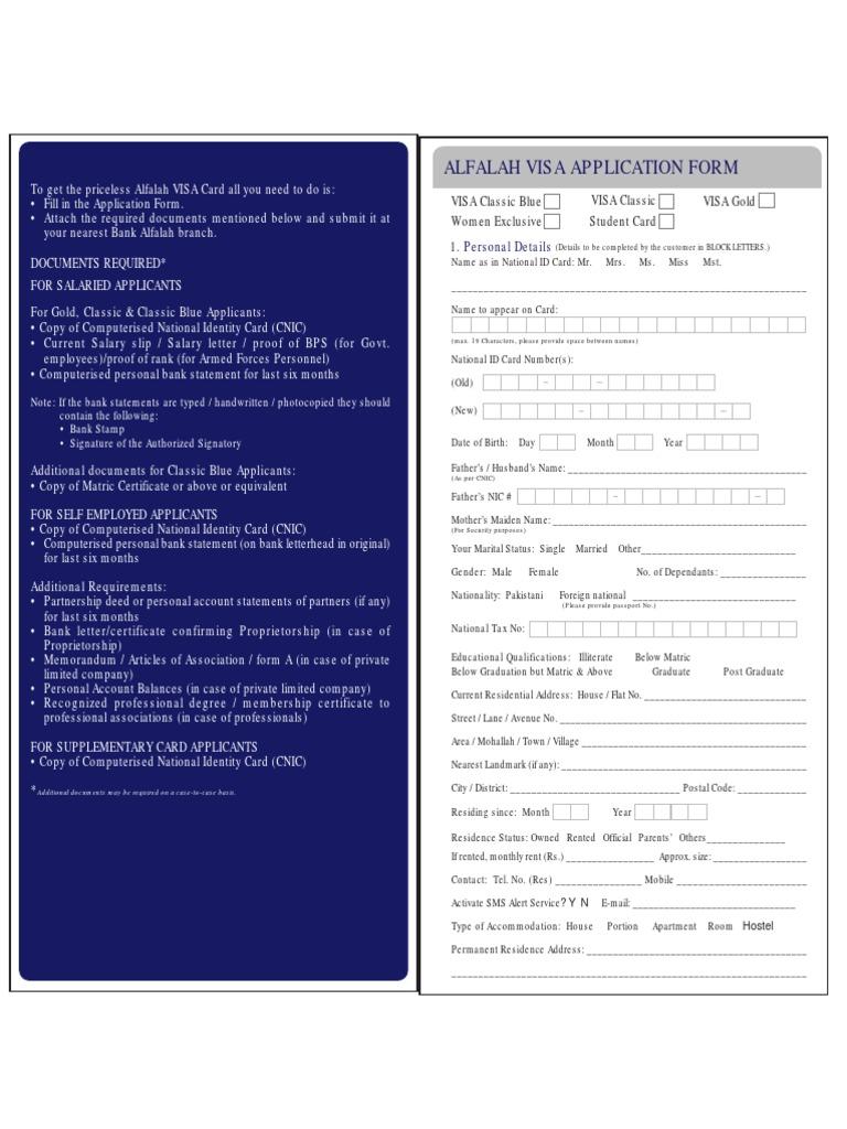 Alfalah Visa Application Form   Debits And Credits   Credit Card