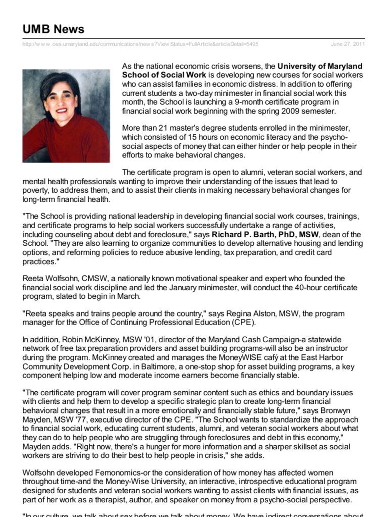 Umb Leading In Financial Social Work Education Social Work