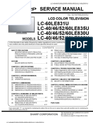 7124742-Sharp Lc-40le830u 46le830u 52le830u 60le830u Service Manual