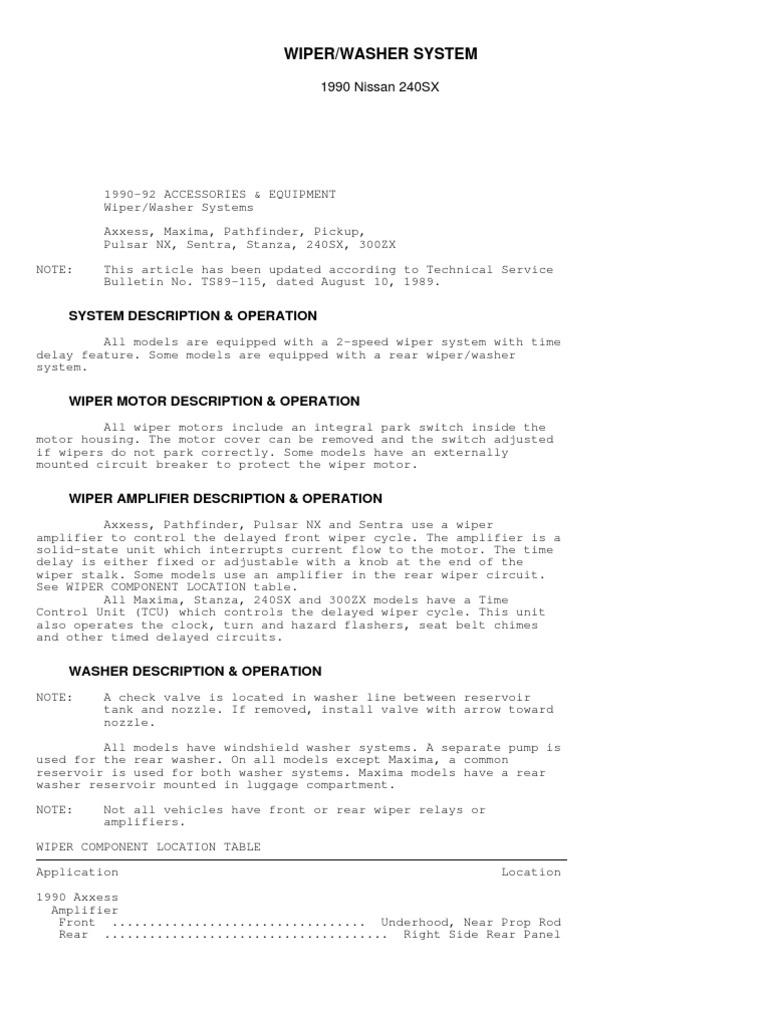 Nissan Sentra Service Manual: Front wiper motor lo circuit