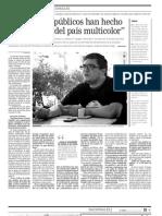 Entrevista a Luis Carlos Díaz en El Tiempo - Los medios públicos han hecho un blackout del país multicolor