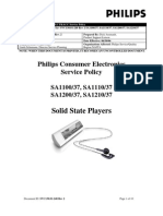 PHILIPS SA1100/37, SA1110/37, SA1200/37, SA1210/37 MP3 PLAYER SERVICE POLICY