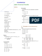 Analytic Geometry Formulas