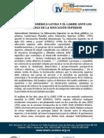 Posición de América Latina y el Caribe ante los Rankings de la Educación Superior