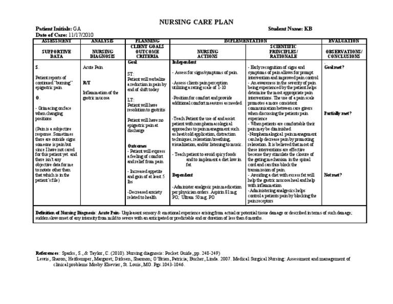 Acute pain due to gastritis care plan g a pain for Palliative care care plan template