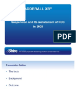 The key learnings of the Adderall XR® suspension and re-instatement of NOC in 2005