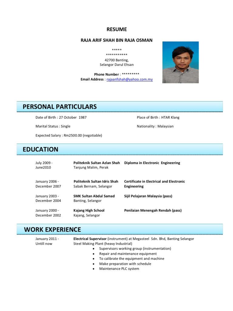 contoh cv relationship manager