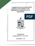 Reglamento de las Condiciones Generales de Trabajo del Personal al Servicio de la Educación