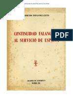 Continuidad  Falangista Al Servicio de Espana Raimundo Fernandez Cuesta 1955