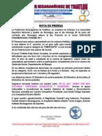 Nota de Prensa Result a Dos Duathlon Pan America No Panama 2011.