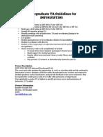 Undergraduate TA Opportunities in Information Science/Requirement