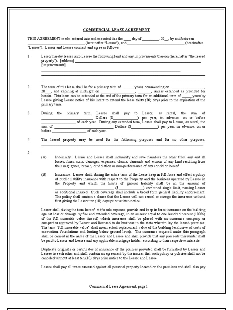 Blank Commercial Lease Editable Lease – Commercial Lease