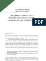 Nicolás Iñigo Carrera - Maria Celia Cotarelo - Génesis y desarrollo de la insurrección espontánea de diciembre de 2001 en Argentina