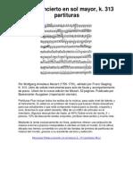 Flauta Concierto en Sol Mayor, k. 313 Partituras