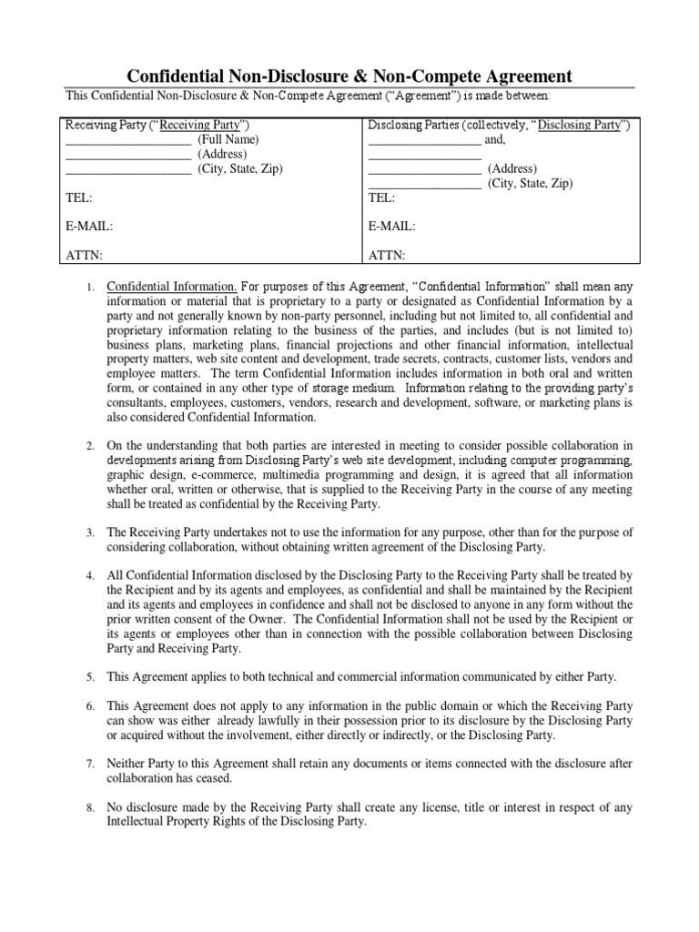 NDA Web Development Blank Non Disclosure Agreement - Ip nda template
