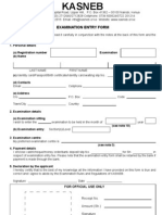 Kasneb Exam Entry Form