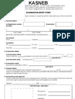 Kasneb Exam Entry Form