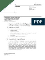 Programa provisional anotado del 13º período de sesiones del Grupo de Trabajo I