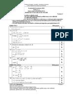 Barem de corectare BAC 2011 - Matematica M2