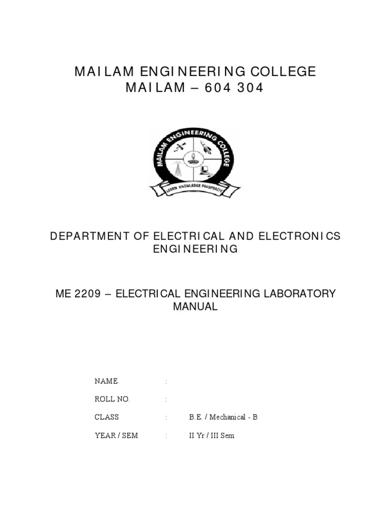 Me 2209 Electrical Engineering Lab Manual | Transformer | Power (Physics)