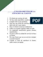 10 Mandamientos Atencion Al Cliente