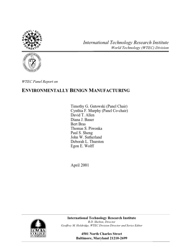 7]_Gutowski_2001_WTEC Panel Report on Environmentally Benign
