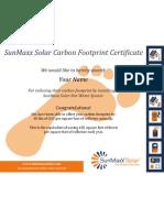 SunMaxx Solar Carbon Footprint Certificate