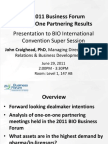 2011 BIO Business Forum Partnering Report