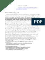FDI in Insurance in India