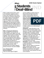 Tip Sheet for Instructors Working With Blind Students