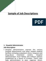 Sample of Job Descriptions. Ppt