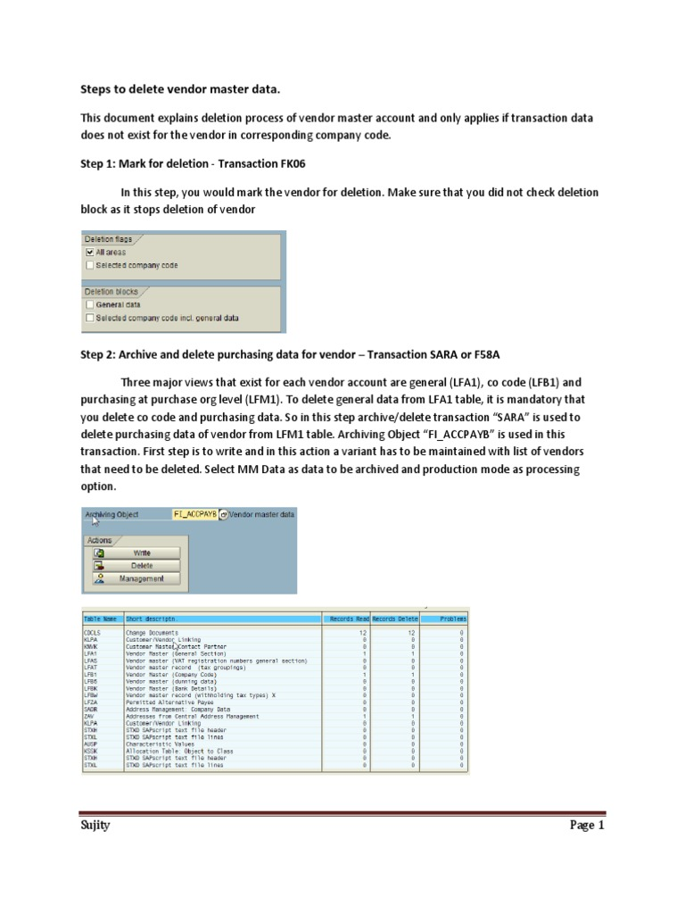 Steps to delete vendor master data malvernweather Choice Image